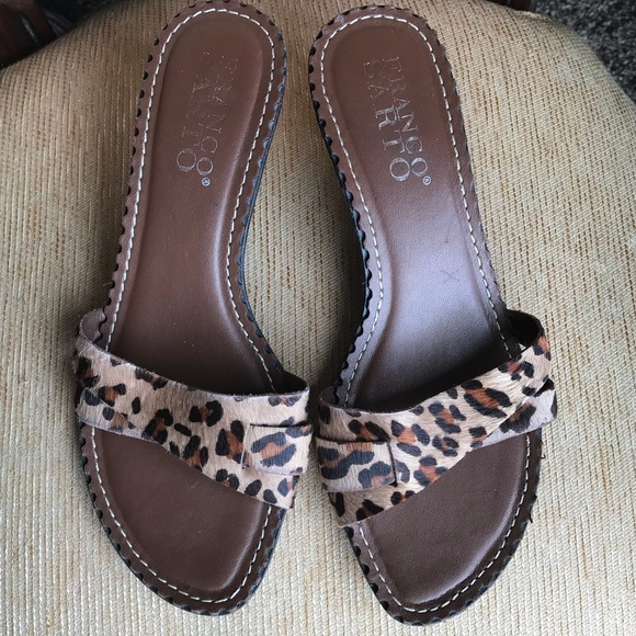ac70b0351f8d Franco Sarto Shoes | Leopard Print Kitten Heel Sandals 75 | Poshmark